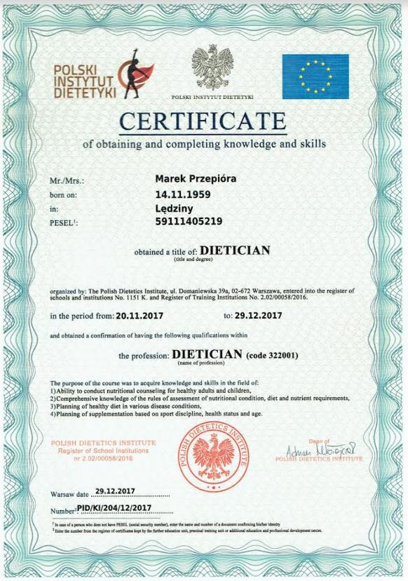 Certyfikat - dietetyk