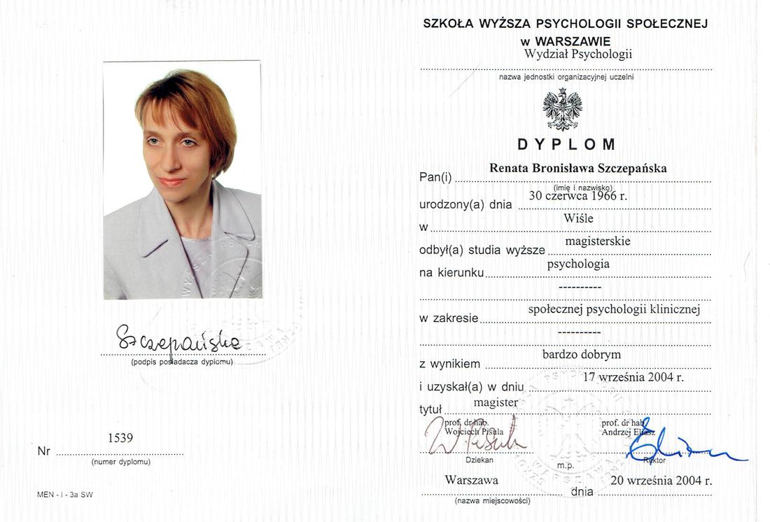 Psychoonkolog Bielsko-Biała Śląsk, Renata Szczepańska