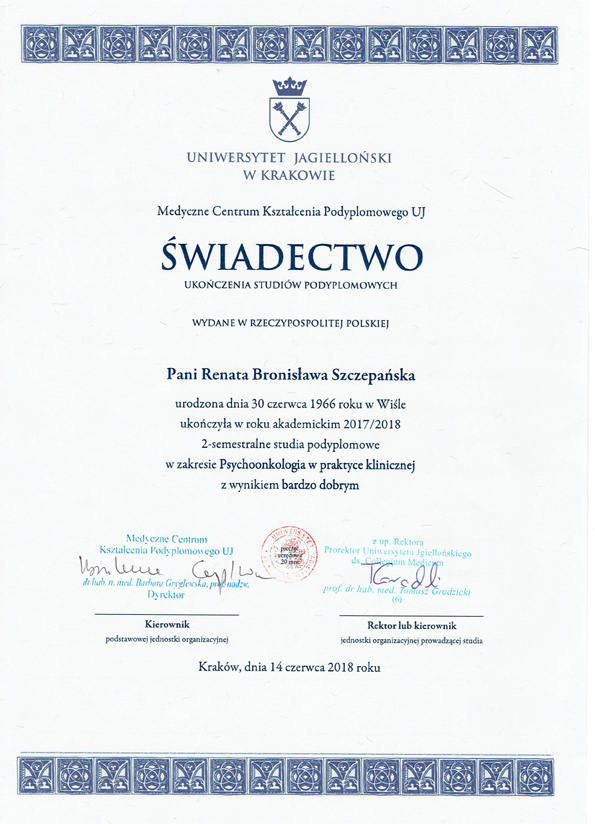 Świadectwo ukończenia studiów podyplomowych Psychologia i psychonkologia kliniczna Biesko-Biała Śląsk